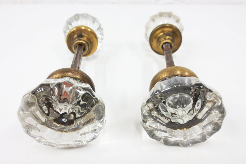 2 Pairs of Antique Victorian 12 Point Crystal Glass Door Knobs Screws & Rods #1