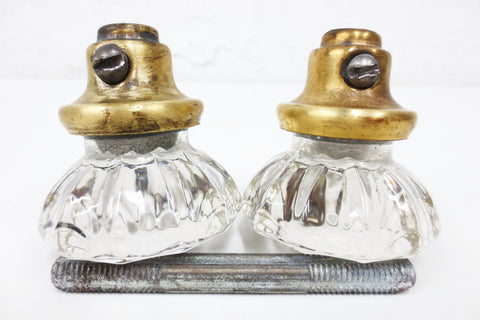 Pair of Antique Victorian 12 Point Crystal Glass Door Knobs, Screws & Rod #11