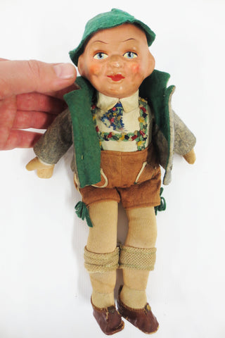 "Antique 12"" German Boy Doll, Composition Head, Felt Tyrolean Suit & Hat, Shoes"
