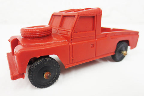 1950's Red Land Rover Pickup Flatbed Rubber Toy Truck by Vinyl Line Germany