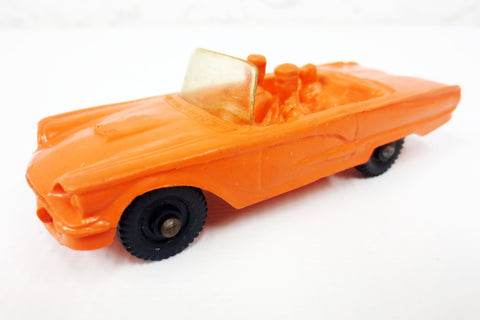 1950's Orange Convertible Toy Rubber Car w/ Dog, Tomte Laerdal Stavanger Norway