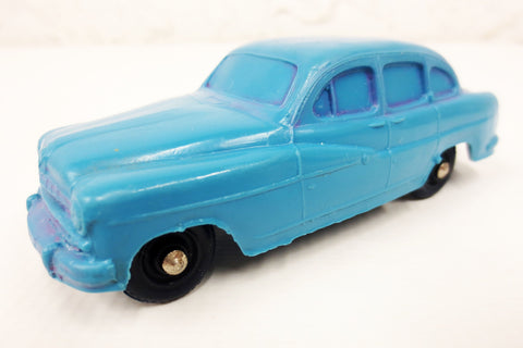 1950's Blue Ford Vedette Toy Rubber Car Sedan, Tomte Laerdal Stavanger Norway