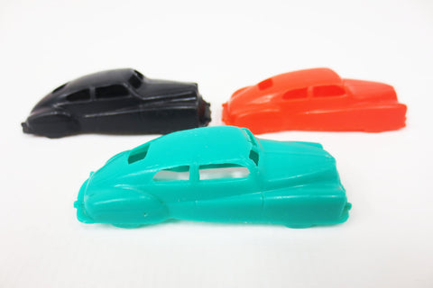 "3 Vintage 1950's Miniature Plastic Toy Car Ford Vedette, 2 3/4"", Black Red Green"