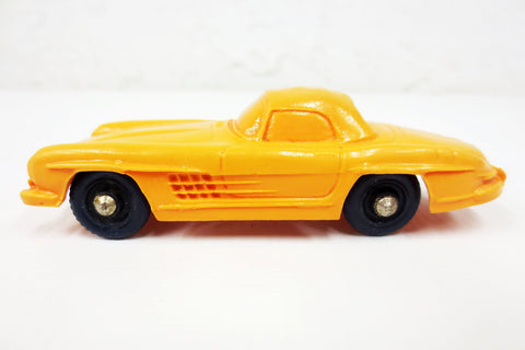 1950's Orange Mercedes-Benz 300 SL Toy Rubber Car, Tomte Laerdal Stavanger Norway