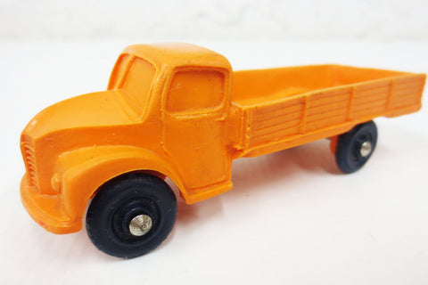 1950's Orange Flatbed Pickup Toy Rubber Truck, Tomte Laerdal Stavanger Norway