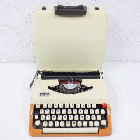 Vintage 1980's Brother Charger 22 Portable Typewriter with Case, Japan, Orange