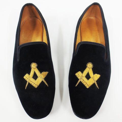 Rare Tricker's Loafer Shoes Freemason Masonic, Black Velour, London England Size 10.5