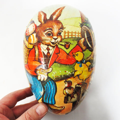 "Vintage Paper Mache Easter Egg 7"" Candy Holder, West Germany, Rabbit Smoking Pipe"