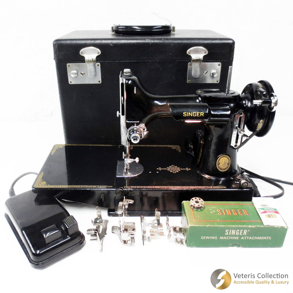 Vintage 1952 Singer Featherweight 221K Portable Sewing Machine with Original Case, Food Pedal and 8 Accessories