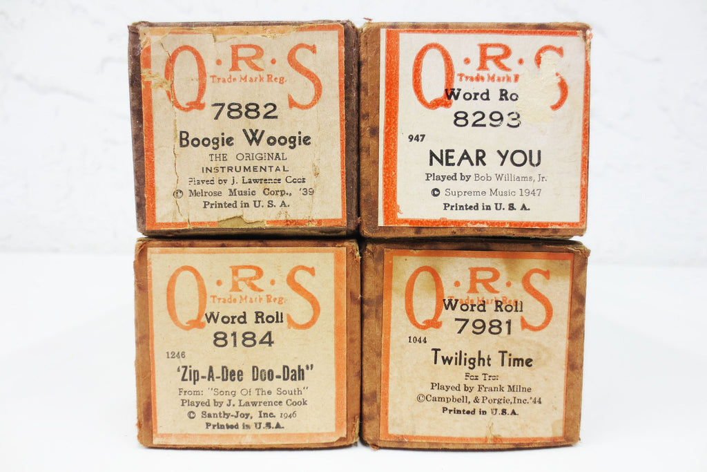 4 Vintage 1940's Piano Word Rolls, Near You, Twilight, Zip-A-Dee, Boogie Woogie