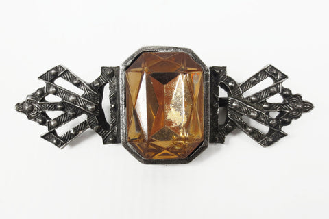 "Vintage Art Deco Silver Bow Brooch 3"" Wide with Large Amber Glass Stone, Ornate"
