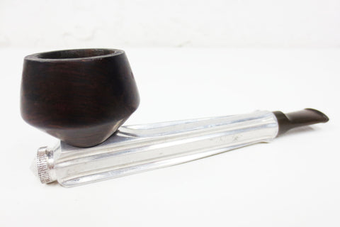 "Vintage Kirsten M Aluminum Estate Tobacco Pipe 5 1/4"" Long, Modernist Wood Bowl"
