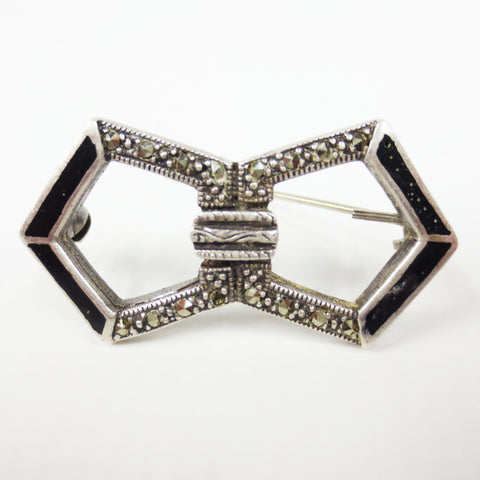 Vintage Art Deco Sterling Sterling Silver .925 Bow Brooch with Black Enamel