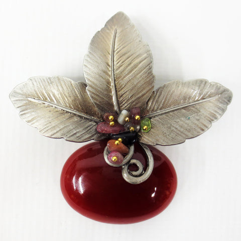 "Vintage Cherry Fruit Flower Brooch 2 3/4"", Pewter Leaves, Gold Plated Balls"