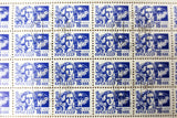 Russia 1966 Sheet of 100 Stamps 16 KON Noyta CCCP, Woman with dove