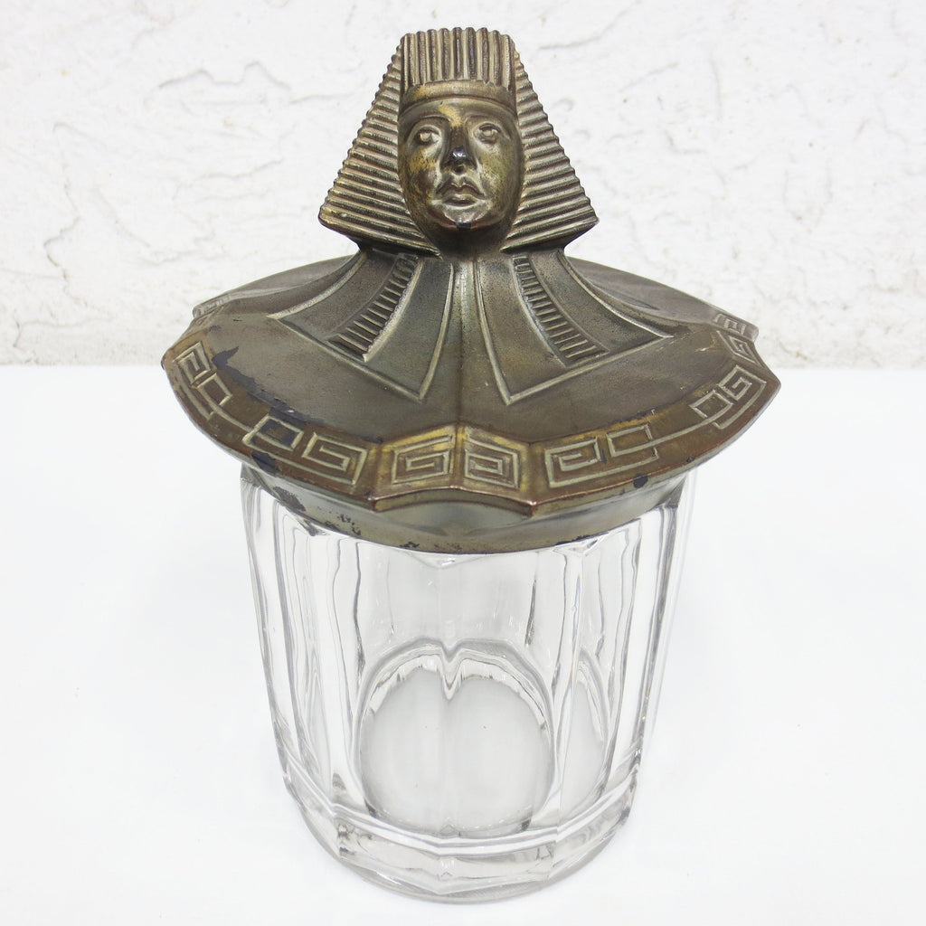 Antique Art Deco Tobacco & Cigar Jar Humidor, Bronze Egyptian Pharaon Lid, Glass