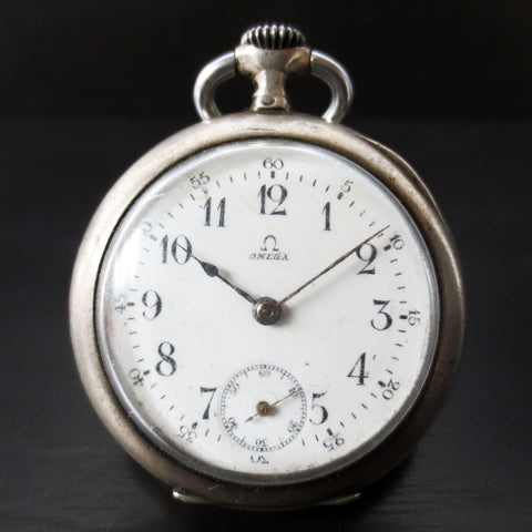 Antique 1902 Omega Pocket Watch Solid Silver .800, 35mm, Swan Hallmark, Dbl Back