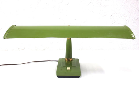 Vintage Mid Century Lmar Gooseneck Hooded Desk Lamp, Green & Gold Metal, Japan