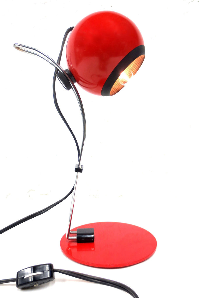"Vintage Red Desk Lamp with Sliding Globe, Italy Retro Design, 5"" Dia., 15"" Tall"