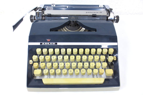 Vintage Adler Typewriter Gabriele 35 Model from Western Germany, Dark Blue, Silver