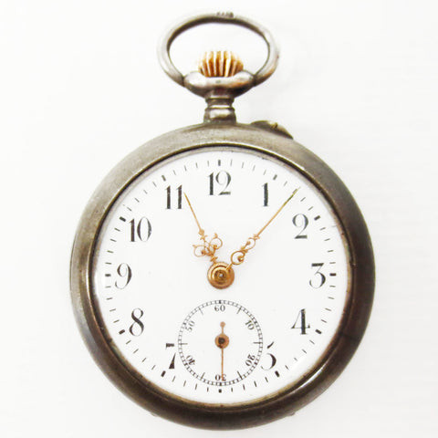 Antique 1880's Aster Pocket Watch Pendant 800 Silver, Open Face, Sec Sub Dial, K&L Case