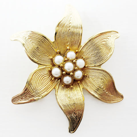 "Vintage 1960's Marcel Boucher Gold Plated Brooch 1 1/2"", Pearls Set in Flower"