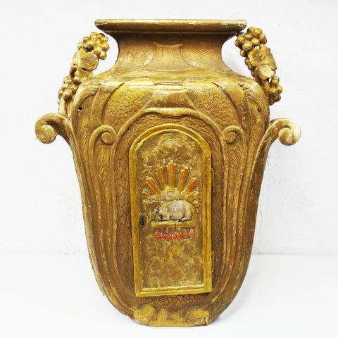 "Antique 1880 Rustic Church Tabernacle 33"", Carved Tree Trunk, Wine Urn, Lamb"