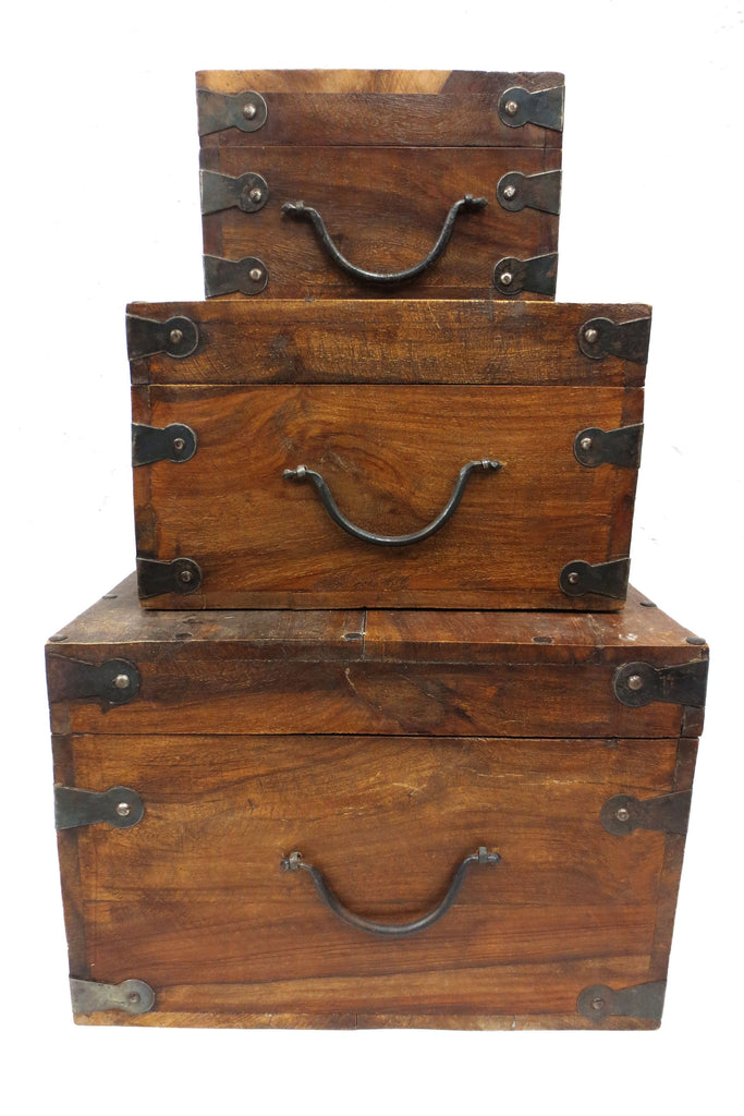 3 Nested Boxes Handmade in Exotic Wood with Metal Hinges & Handles 12 X 12 X 9""