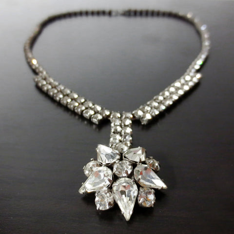 "Vintage Jay Flex Sterling Evening Dress Necklace 15"", Daisy Flower, Glass Stones"