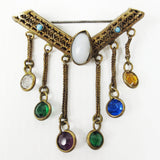 Vintage Art Deco Brass Filigree Brooch with Pendant Chains, Multicolored Stones