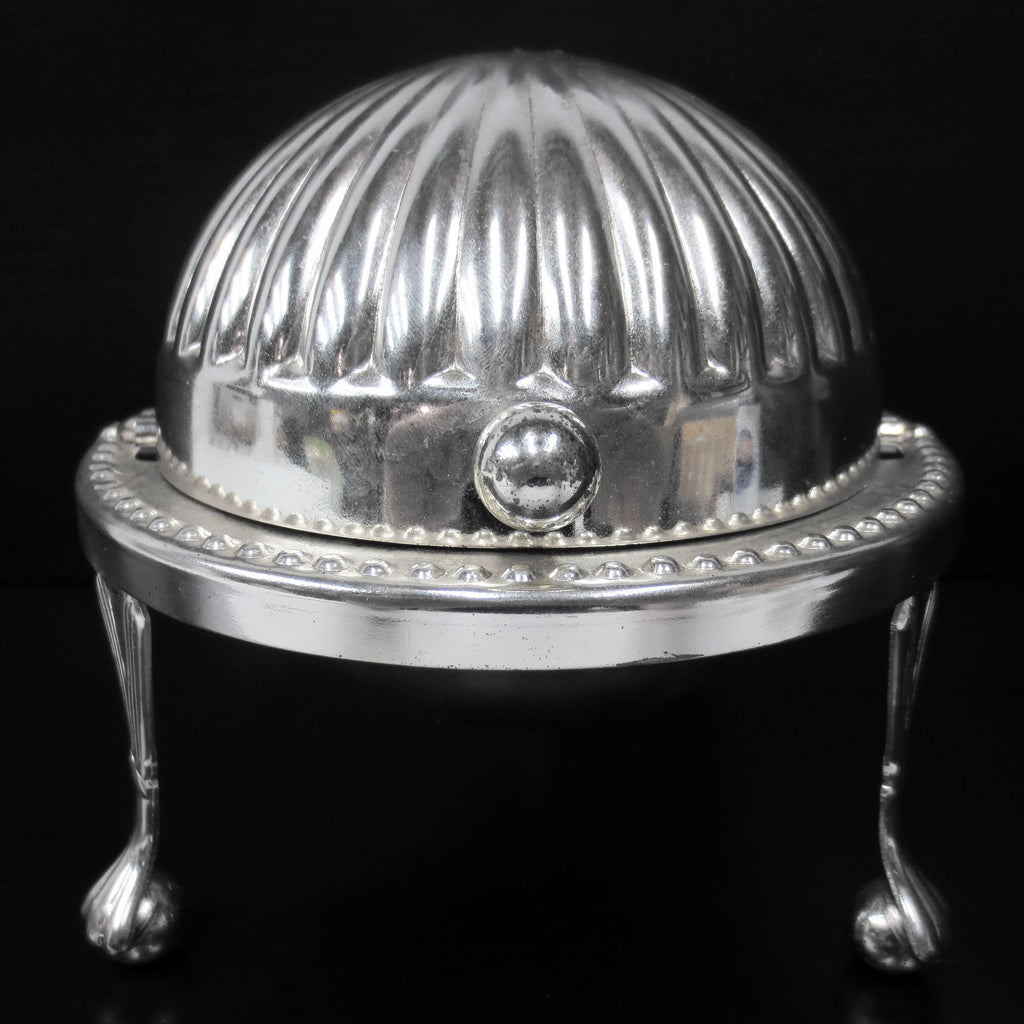 Vintage Globe Earth Silver Dish for Butter Caviar Candy, Sliding Roll Top England