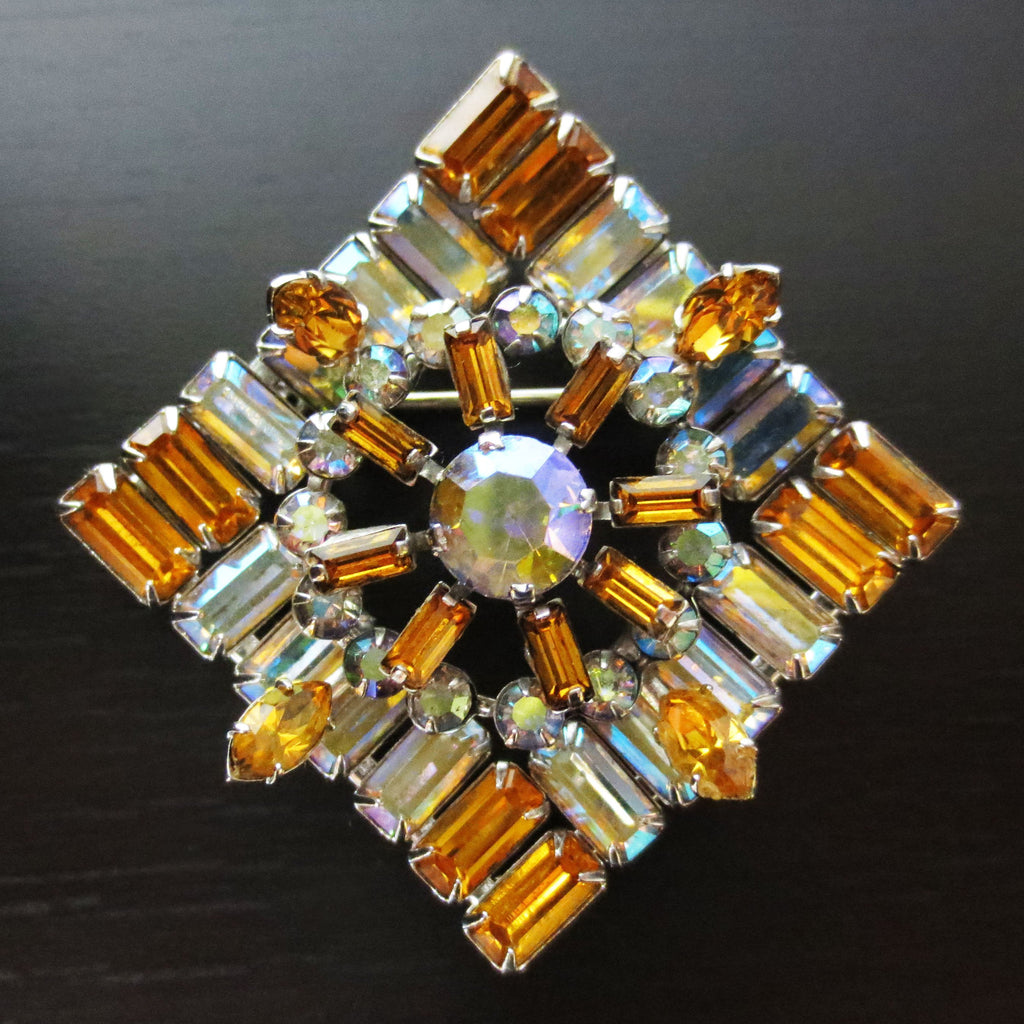 "Vintage Azub Austria Evening Dress Brooch 1.5"", Amber & Glass Stones, Silver"