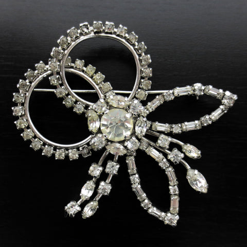 "Vintage Jay Flex Sterling Evening Dress Brooch 2 1/4"", Flowers & Glass Stones"