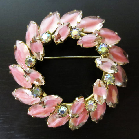 "Vintage Evening Dress Pink Flower Brooch 2 1/4"" Gold Tone, Round, Oval Stones"