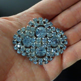 "Vintage Evening Dress Brooch 2 1/4"" with Light Blue Glass Stones, Silver Rhodium"