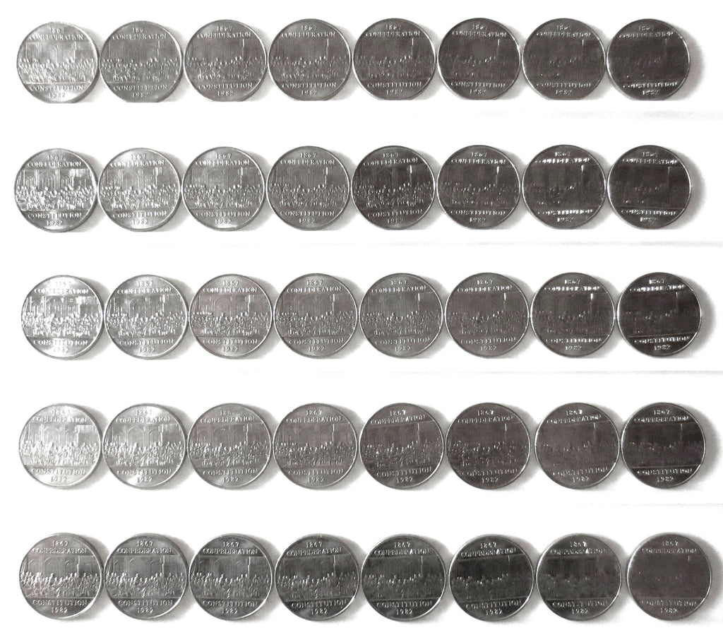 40 Coins Collection Lot 1982 One Dollar Canada 1867 Confederation Constitution