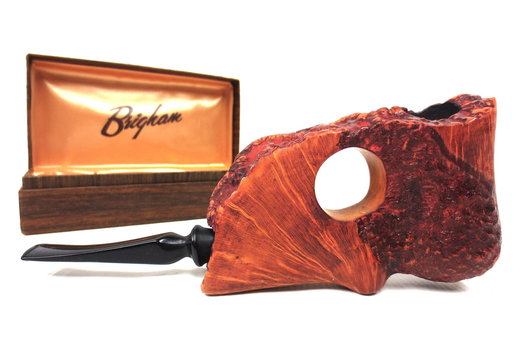 "Large 7.5"" Rustic Red Wood Tobacco Pipe Signed Brigham with Box, New Old Stock"