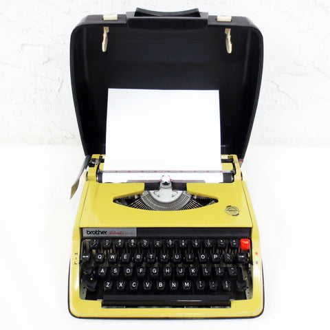 Vintage Yellow Green Brother Activator 800T Portable Typewriter, Black Case