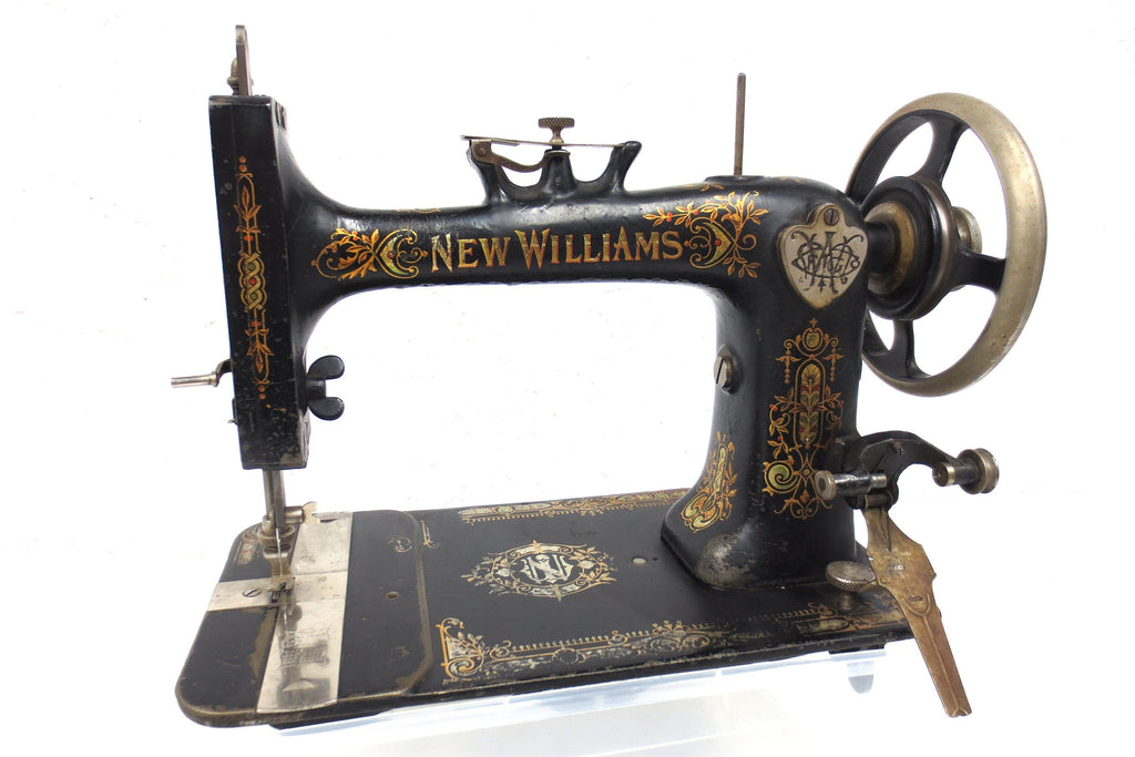 Antique 1884 New Williams Montreal Sewing Machine, Gold, Black, Red Cherries