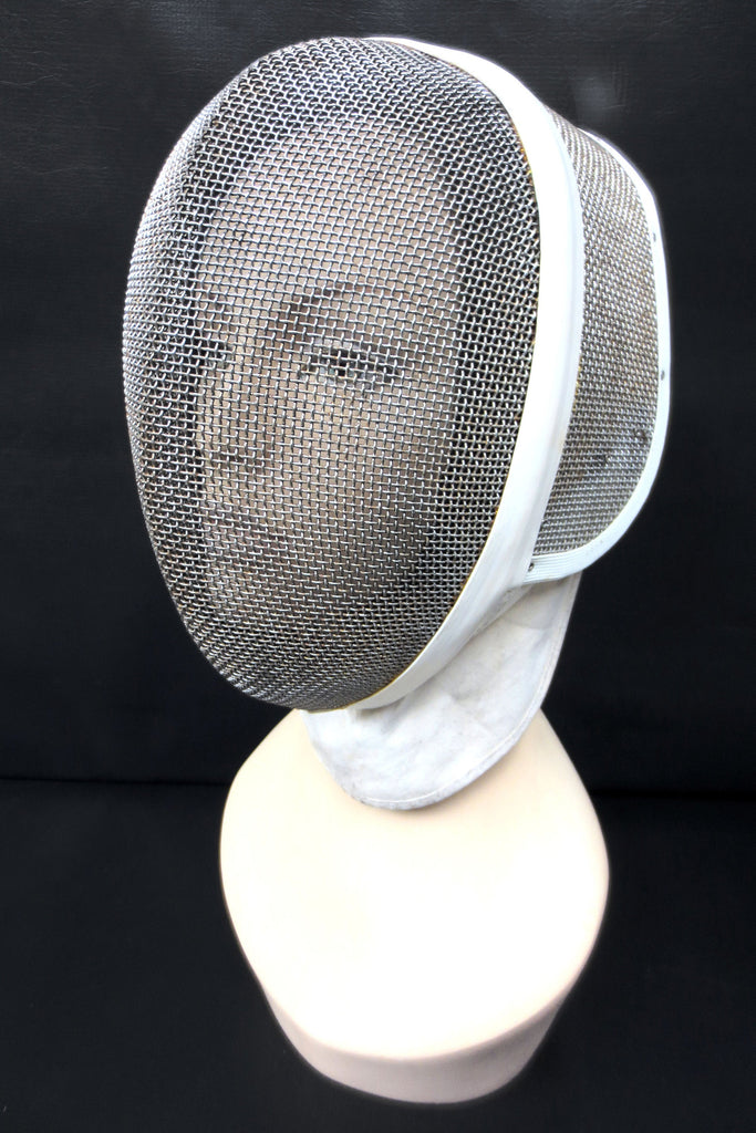 Vintage Leon Paul Fencing Face Mask Helmet Guard, Medium Size, White, Metal Mesh