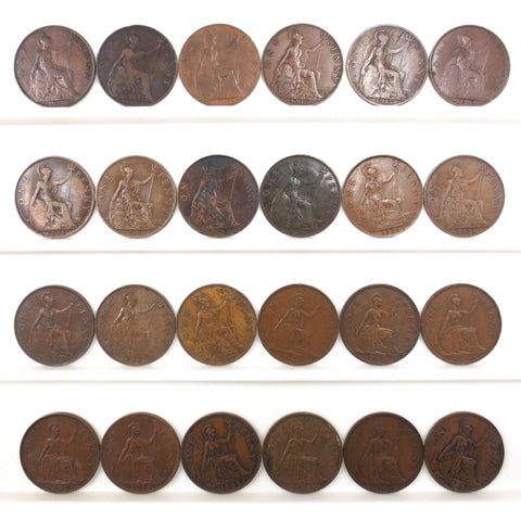24 Coins Collection Lot 1903-1948 One 1 Penny Bronze, UK Great Britain British