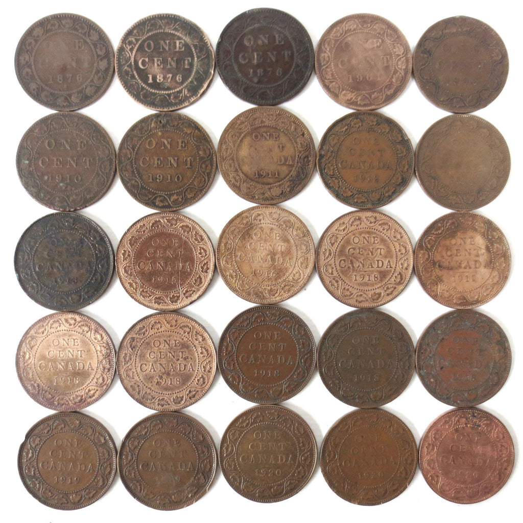 25 Coins Collection Lot of One 1 Cent Canada Coins 1876 1901 1903 1910 1911 1912