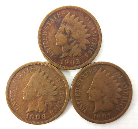 3 Indian Head Cent 1C Penny 1903 1906 and 1907 United States USA