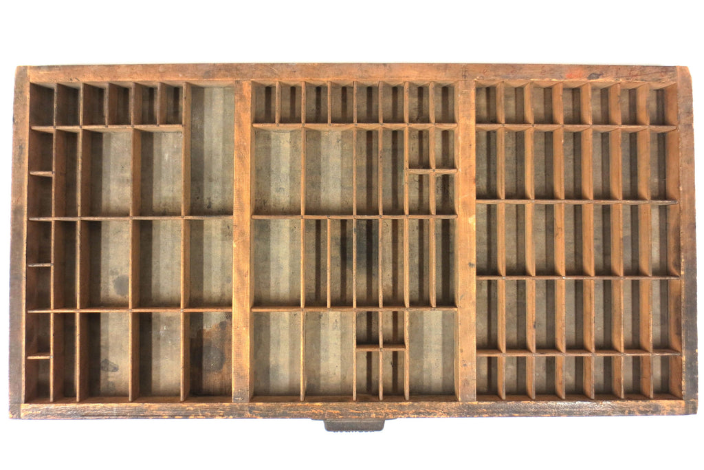 "Vintage Hamilton Print Letterpress Typeface Wood Drawer Tray 32X16"", 88 Spaces"