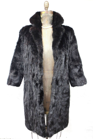"Vintage Women's Genuine Black Mink Vison Fur Coat Jacket, Size 10, 41"" Long"
