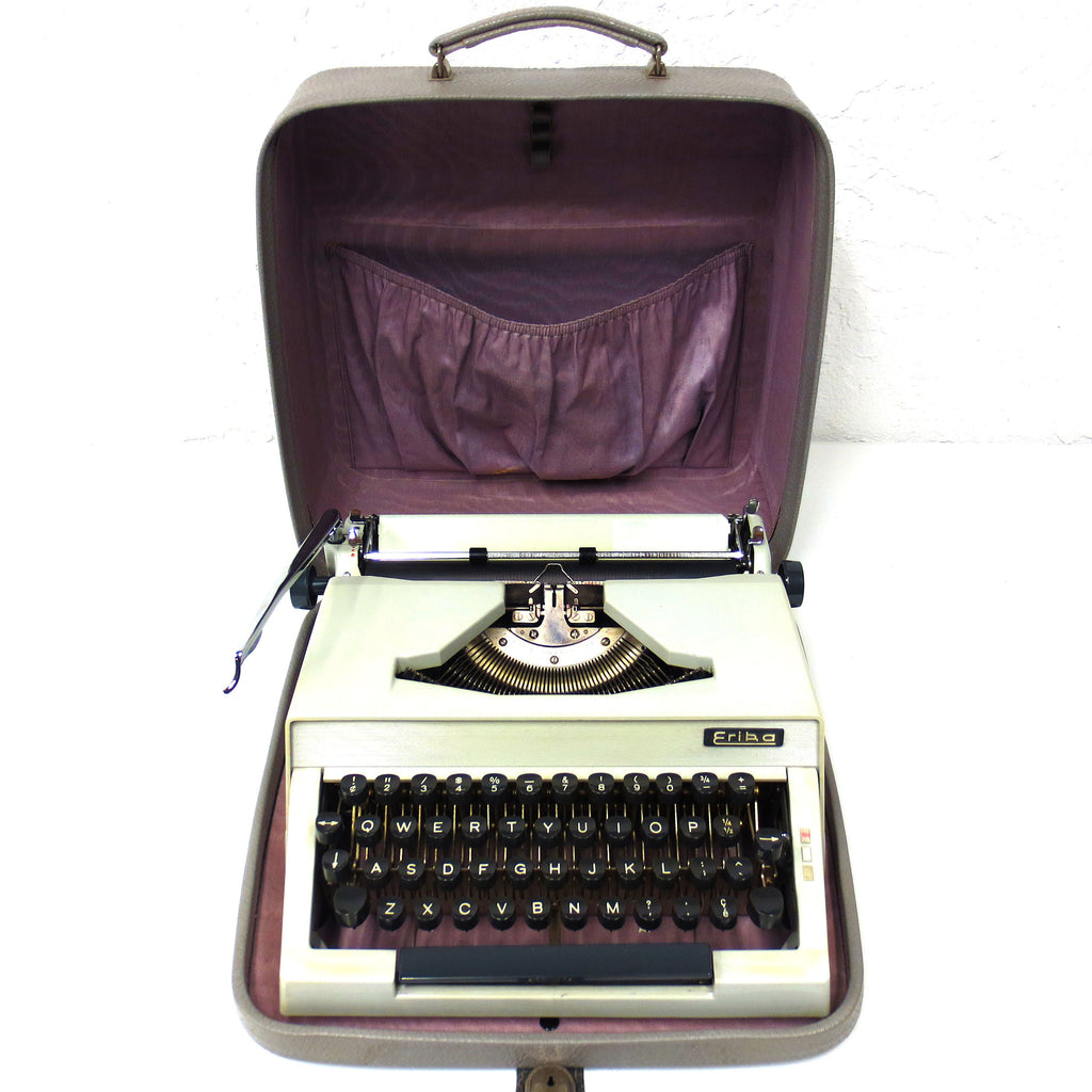 Vintage 1963 Erika Typewriter Model 15 Made in Germany, Leatherette Case, Working