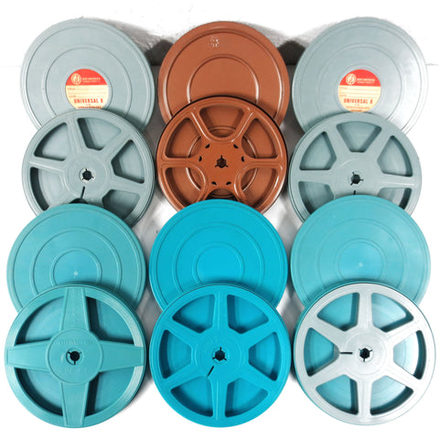 Lot of 6 Vintage 8mm Movie Reels in their Original Cases, Blue, Turquoise, Brown