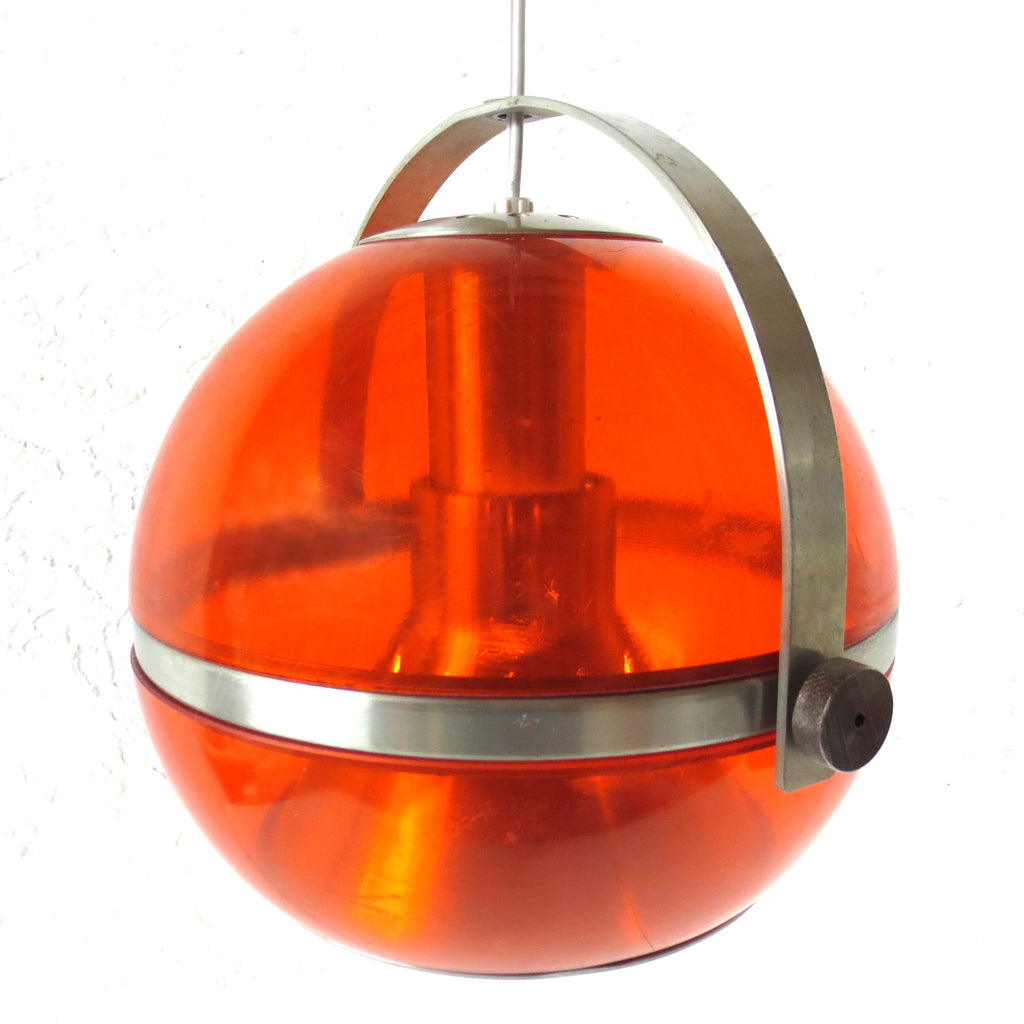 "Vtg Mid Century Space Age UFO Ceiling Light Fixture 9"" Dia, Translucent Orange"
