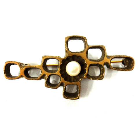 Vintage Mid Century Brutalist Brass Brooch w/ Pearl, Large Size 65mm, Molecular