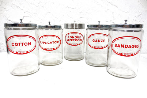 5 Vintage Glass Pharmacy Medical Supplies Jars by Merco, Bandages, Gauze, Cotton